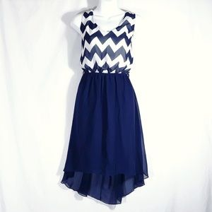 Rue 21 Blue Chevron High Low Dress